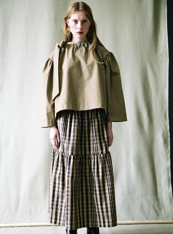 Young British Designers: BARCO BLOUSE. Khaki by Cawley