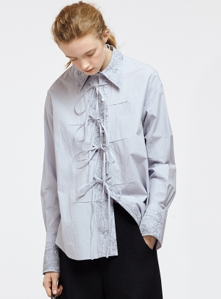 Powder Blue Shirt with Embroidery and Laces by Renli Su