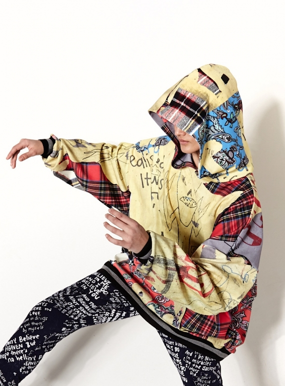 Young British Designers: OVERSIZED HOODIE. Digital Panther Patchwork. - Last one (M) by Simeon Farrar