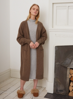 WINIFRED TAUPE OVERSIZED CARDIGAN  by Beaumont Organic