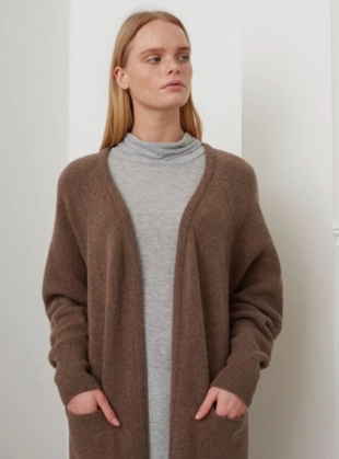 Young British Designers: WINIFRED TAUPE OVERSIZED CARDIGAN  by Beaumont Organic