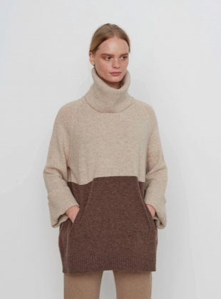 NELL JUMPER in Oat and Brown by Beaumont Organic