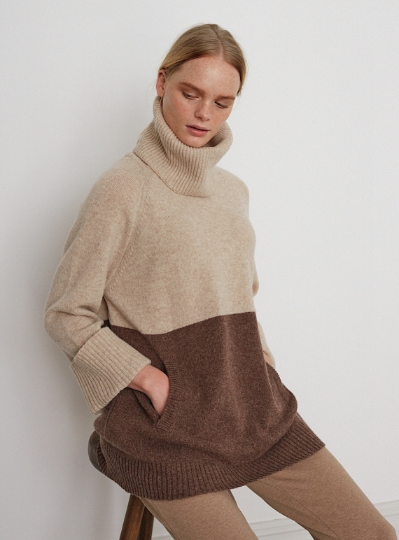 Young British Designers: NELL JUMPER in Oat and Brown by Beaumont Organic