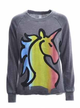 VINTAGE SWEATSHIRT. Grey unicorn. by Simeon Farrar
