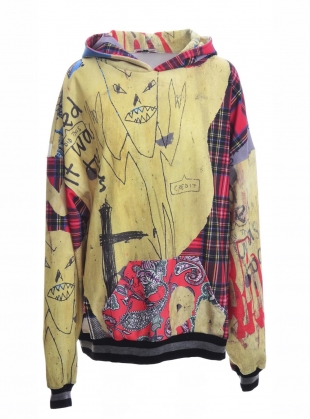 Young British Designers: OVERSIZED HOODIE. Digital Panther Patchwork. by Simeon Farrar