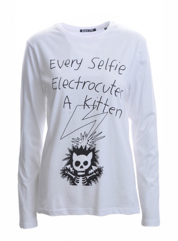 Young British Designers: KITTEN SELFIE Unisex Long Sleeve T-Shirt by Simeon Farrar
