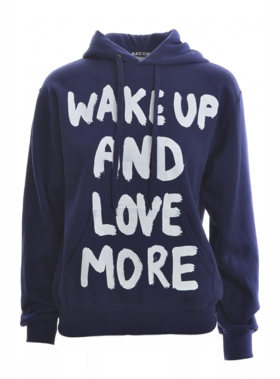 Young British Designers: Navy Blue WAKE UP Hoodie - last one (L) by Simeon Farrar