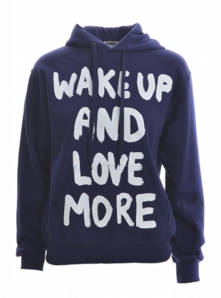 Navy Blue WAKE UP Hoodie by Simeon Farrar
