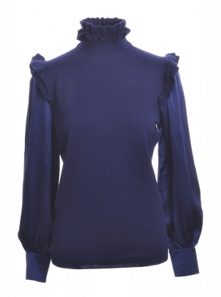 INDIGO BLUE MERINO SWEATER WITH SILK SLEEVES by Teija Eilola
