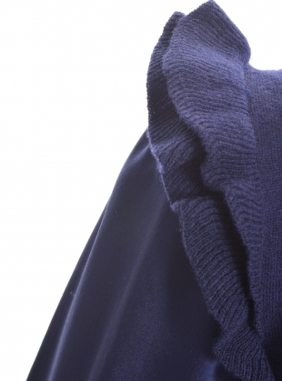 Young British Designers: INDIGO BLUE MERINO SWEATER WITH SILK SLEEVES - last one (6) by Teija Eilola