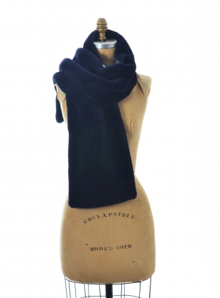 Young British Designers: Midnight Blue Faux Fur Scarf. Floral - last one by Simeon Farrar