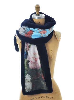 Midnight Blue Faux Fur Scarf. Floral - last one by Simeon Farrar