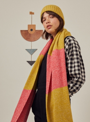 FREYA SCARF. Yellow/Pink by SIDELINE