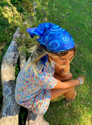 Young British Designers: RIPPLES IN THE RIVER SILK SCARF- Medium by jasmine coe