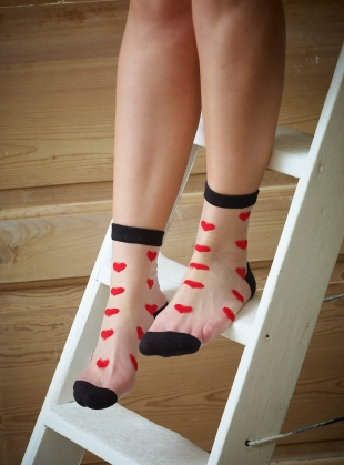 Romantic White Red Hearts Socks by Cutie Pop