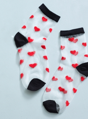 Young British Designers: Romantic White Red Hearts Socks by Cutie Pop
