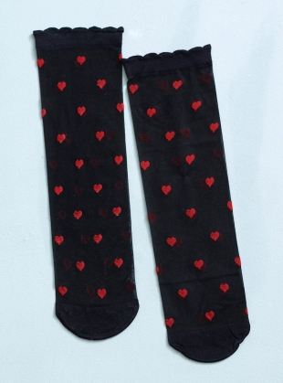 Romantic Black Red Hearts Socks by Cutie Pop