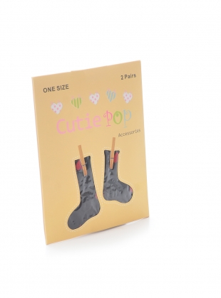 Young British Designers: Romantic Black Red Hearts Socks by Cutie Pop