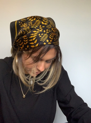 Young British Designers: Golden Leaves Silk Scarf - Large by jasmine coe