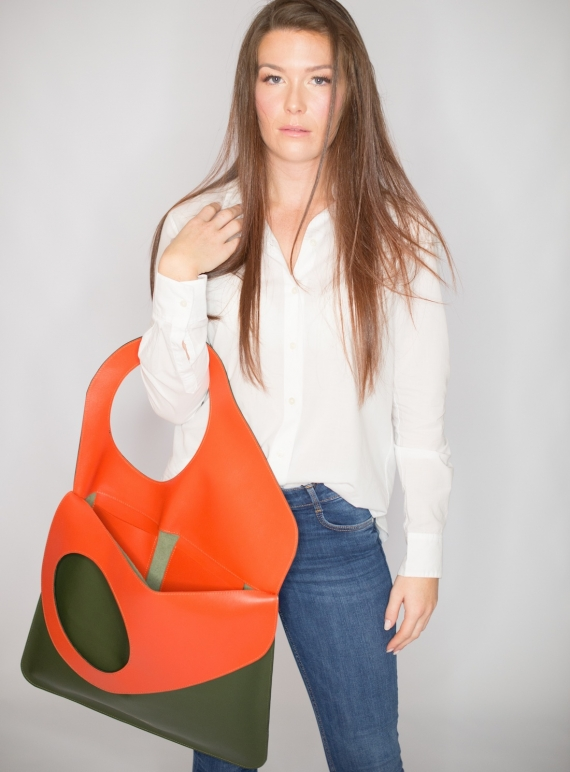 Young British Designers: Olive/Persimmon Bag. Large  by Russell Russell