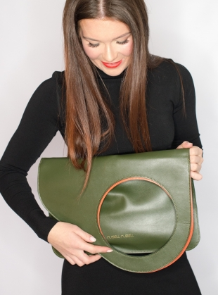 Young British Designers: Olive/Persimmon Bag. Regular - sold out by Russell Russell