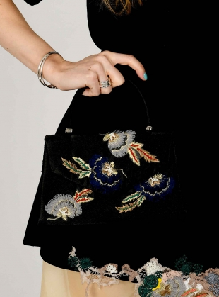 Young British Designers: ORLA. Black Hand-Embellished Trapeze Bag by Sophie Pittom