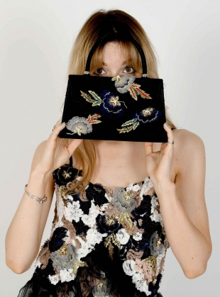 ORLA. Black Hand-Embellished Trapeze Bag by Sophie Pittom