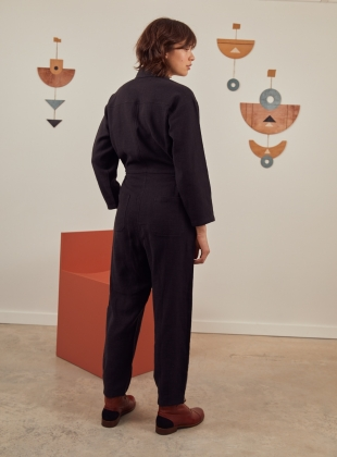 Young British Designers: EVA Black BOILERSUIT - Last one (XS) by SIDELINE