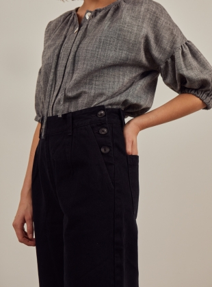 Young British Designers: PIA RECYCLED BLACK JEANS - last pair (L) by SIDELINE