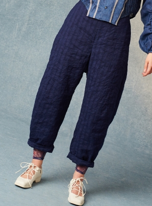 Young British Designers: VINNIE INDIGO COTTON/LINEN/SILK TROUSERS - last pair (L) by Renli Su