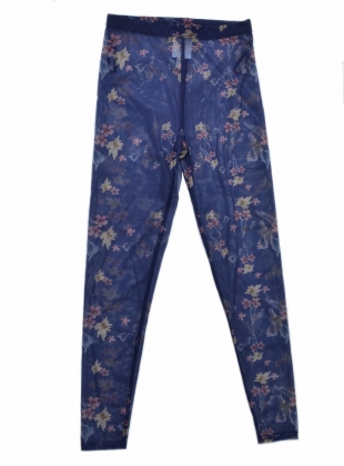 BEATRICE GAUZY BLUE FLORAL LEGGINGS  by Renli Su