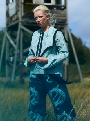 Young British Designers: Organic Cotton SAILOR PANTS. Green Ropes Print by Klements