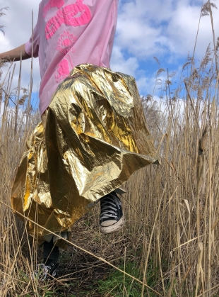 Young British Designers: EIDOTHEA SKIRT. Disco Gold by Klements