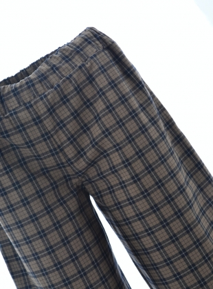Young British Designers: ADRIENNE-MEL TROUSERS. Navy and Tan Organic Cotton. by Beaumont Organic