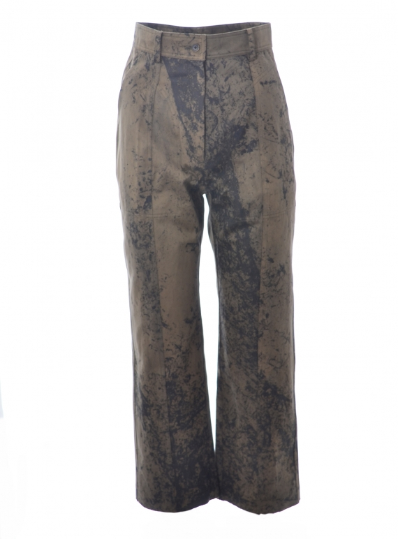 Young British Designers: ANKLE LENGTH STRAIGHT TROUSERS. Olive paint finish. Last pair - (L) by WEN PAN