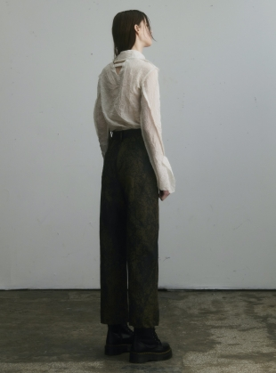 Young British Designers: ANKLE LENGTH STRAIGHT TROUSERS. Olive paint finish. by WEN PAN