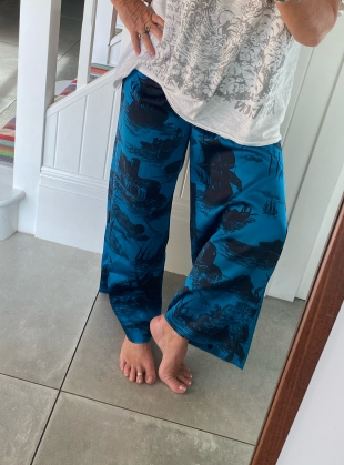 Young British Designers: PLUTO PANTS. Doomed Voyage Ocean - last pair (xs) by Klements