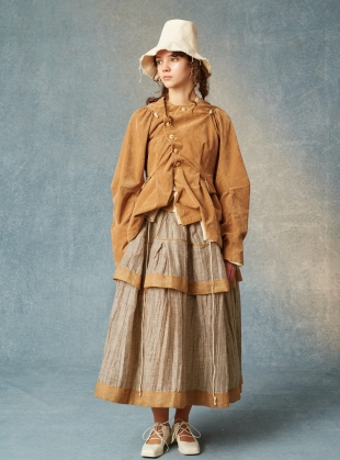 Zadie Layered Skirt. Striped Taupe. by Renli Su