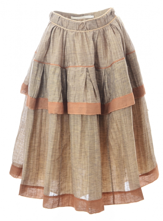 Young British Designers: Zadie Layered Skirt. Striped Taupe. - Last one (S) by Renli Su