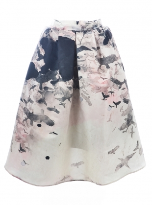 BIG SKIRT. Painted Birds - last one (XL) by Simeon Farrar