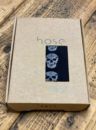 Young British Designers: BLACK with SILVER Skull Stripe Tights by hose.