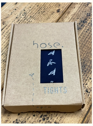 Young British Designers: NAVY with SILVER Dove Tights by hose.