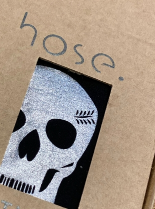 Young British Designers: BLACK with SILVER Skull Footless Tights by hose.
