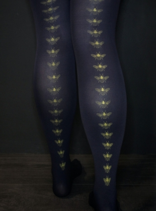 BLACK with MUSTARD Bee Tights. by hose.