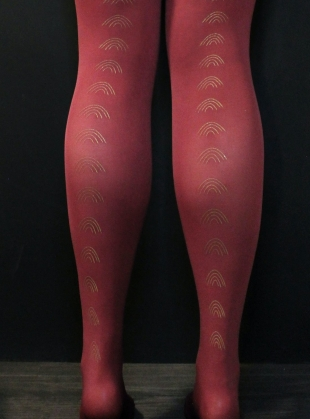 Young British Designers: CLARET with GOLD Rainbow Tights by hose.