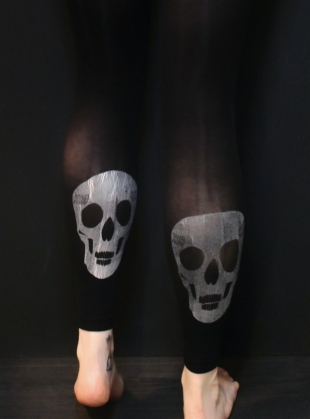 BLACK with SILVER Skull Footless Tights by hose.
