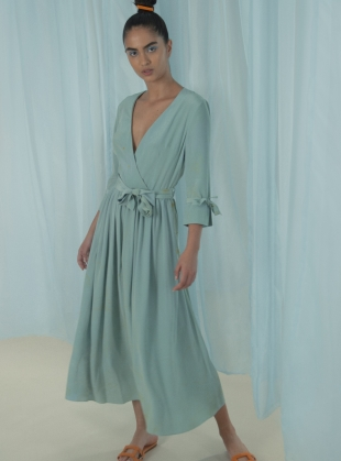 Marbled Duck Egg Blue Silk Wrap Dress by Edward Mongzar