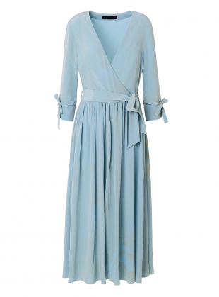 Young British Designers: Marbled Duck Egg Blue Silk Wrap Dress by Edward Mongzar