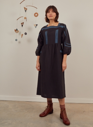 DALVA BLACK EMBROIDERED DRESS by SIDELINE