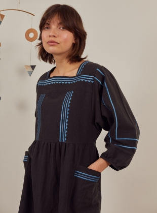 Young British Designers: DALVA BLACK EMBROIDERED DRESS  by SIDELINE